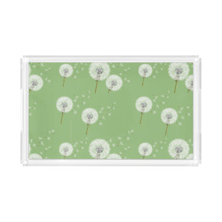 Dandelion Pattern on Green Background Acrylic Tray