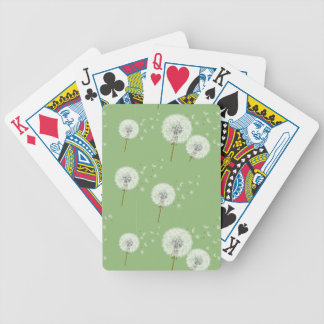 Dandelion Pattern on Green Background Bicycle Playing Cards