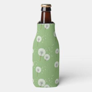 Dandelion Pattern on Green Background Bottle Cooler