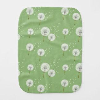 Dandelion Pattern on Green Background Burp Cloth