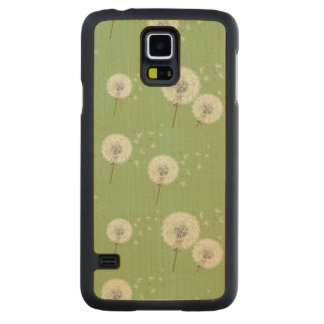 Dandelion Pattern on Green Background Carved Maple Galaxy S5 Case