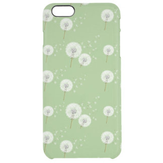 Dandelion Pattern on Green Background Clear iPhone 6 Plus Case
