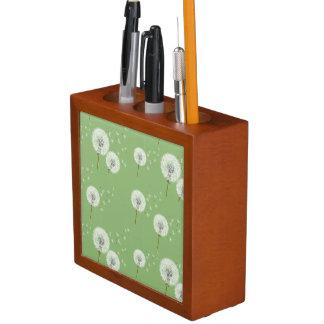 Dandelion Pattern on Green Background Desk Organiser