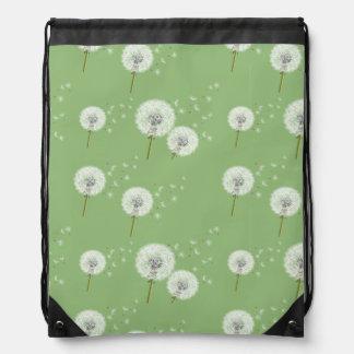 Dandelion Pattern on Green Background Drawstring Bag