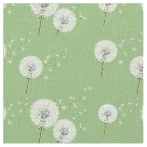 Dandelion Pattern on Green Background Fabric