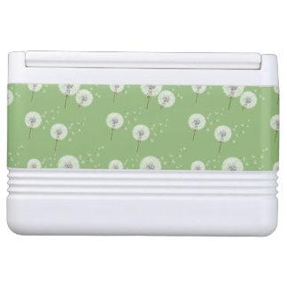 Dandelion Pattern on Green Background Igloo Cooler