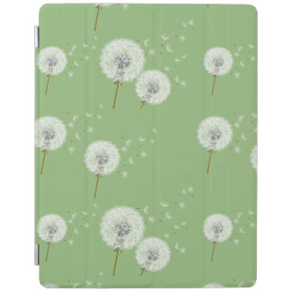 Dandelion Pattern on Green Background iPad Cover
