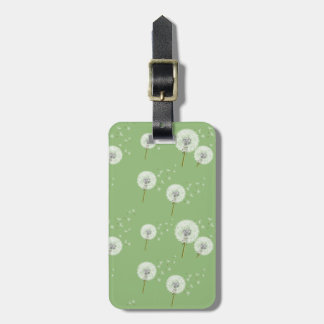 Dandelion Pattern on Green Background Luggage Tag