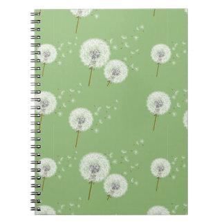 Dandelion Pattern on Green Background Notebook
