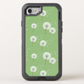 Dandelion Pattern on Green Background OtterBox Defender iPhone 8/7 Case