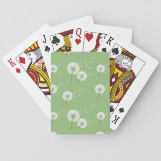 Dandelion Pattern on Green Background Playing Cards