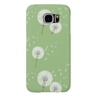 Dandelion Pattern on Green Background Samsung Galaxy S6 Cases