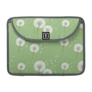 Dandelion Pattern on Green Background Sleeve For MacBooks