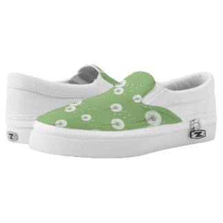 Dandelion Pattern on Green Background Slip-On Shoes