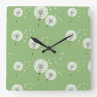 Dandelion Pattern on Green Background Square Wall Clock