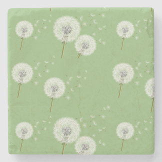 Dandelion Pattern on Green Background Stone Coaster