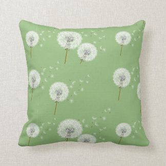 Dandelion Pattern on Green Background Throw Pillow