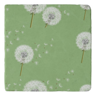 Dandelion Pattern on Green Background Trivet