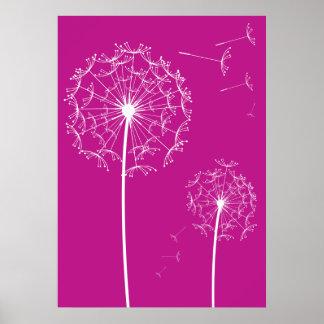 dandelion pink print