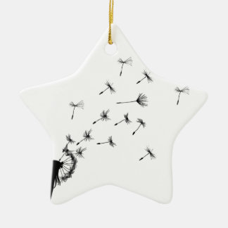 Dandelion puff in the wind christmas ornament