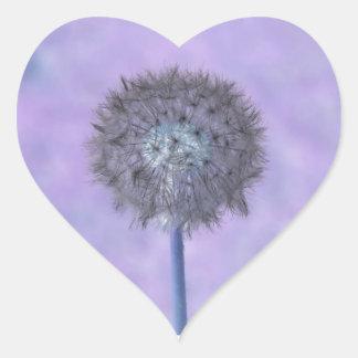 Dandelion Purple Pink Heart Sticker