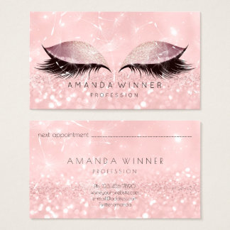 Dandelion Rose Gold Pink Lashes Makeup Glitter Business Card