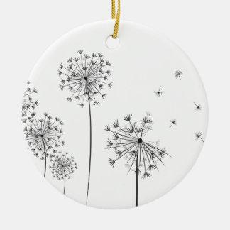 Dandelion Round Ceramic Decoration