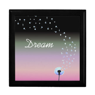 Dandelion Seeds Flying in the Wind - Black & Pink Gift Box