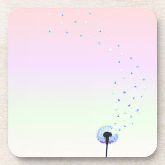 Dandelion Seeds Flying in the Wind - Pink Coaster