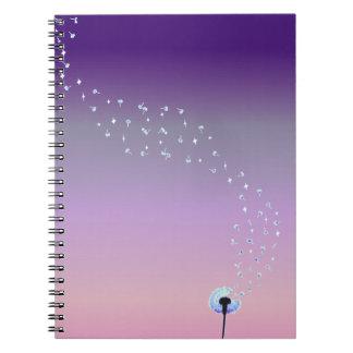 Dandelion Seeds Flying in the Wind - Pink & Purple Notebook