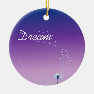 Dandelion Seeds Flying in the Wind - Purple Christmas Ornament
