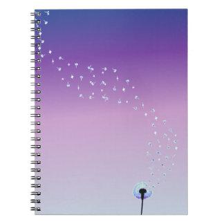 Dandelion Seeds Flying in the Wind - Purple Notebook