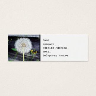 Dandelion Seeds Near Wood Planks. Mini Business Card