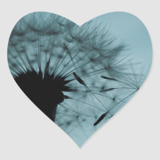 Dandelion Seeds Teal and Black Heart Sticker
