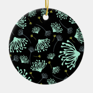 Dandelion Silhouette Black Christmas Ornament