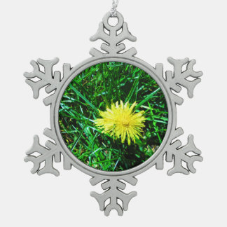 Dandelion Snowflake Pewter Christmas Ornament