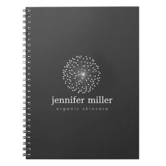 DANDELION STARBURST LOGO in WHITE Customizable Notebooks
