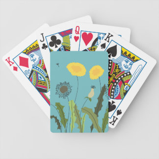 Dandelion, Turquoise Bicycle Playing Cards