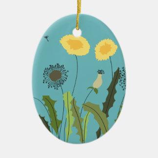 Dandelion, Turquoise Christmas Ornament