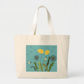 Dandelion, Turquoise Large Tote Bag