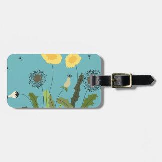 Dandelion, Turquoise Luggage Tag