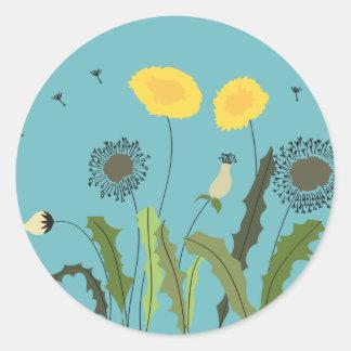 Dandelion, Turquoise Round Sticker