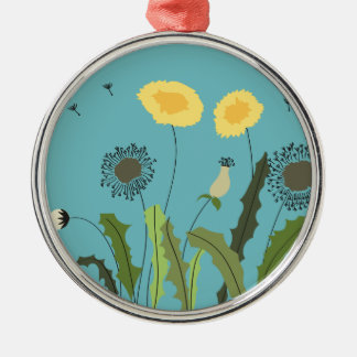 Dandelion, Turquoise Silver-Colored Round Decoration