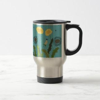 Dandelion, Turquoise Travel Mug