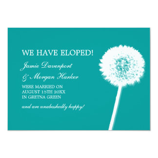 "Dandelion White & Teal Elopement 4.5"" X 6.25"" Invitation Card"