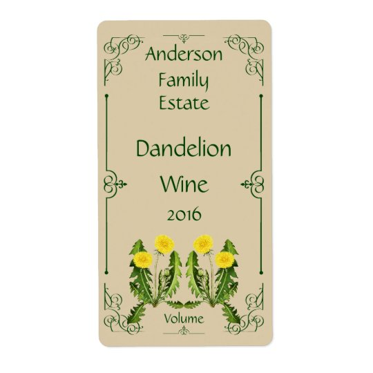 Dandelion Wine Bottle Label with Dark Green Frame Shipping Label
