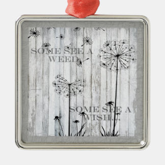 Dandelion Wishes Dreamy Gray Quote Christmas Ornament