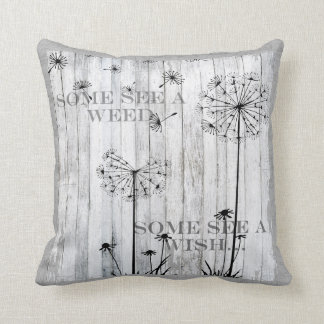 Dandelion Wishes Dreamy Gray Quote Cushion