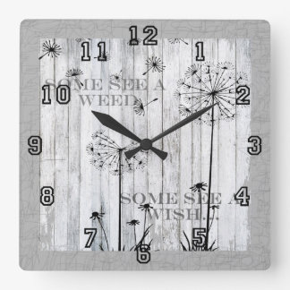 Dandelion Wishes Dreamy Gray Quote Square Wall Clock