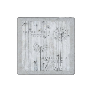 Dandelion Wishes Dreamy Gray Quote Stone Magnet